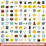 100 cryptocurrency investigation icons set. In flat style for any design vector illustration Stock Images