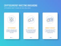 Cryptocurrency investing onboarding mobile app walkthrough screens modern, clean and simple concept. vector illustration template. Onboarding splashscreen Royalty Free Stock Photography