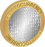 Cryptocurrency. Isolated coin with the inscription cryptocurrency Stock Image