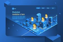 Cryptocurrency isometric infographic Money cryptp currencies. Cryptocurrency mining concept. Money or crypto currency decorative vector illustration Royalty Free Stock Photo