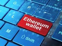 Cryptocurrency-Konzept: Ethereum-Geldbörse auf Computertastaturhintergrund vektor abbildung