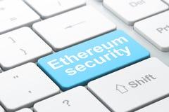 Cryptocurrency-Konzept: Ethereum-Sicherheit auf Computertastaturhintergrund lizenzfreie abbildung