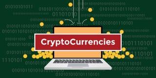 Cryptocurrency-Konzept mit Laptop und Text mit Goldmünzgeldfall und -binär Code Stockfoto