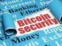 Cryptocurrency-Konzept: rote Text Bitcoin-Sicherheit unter dem Stück des heftigen Papiers Stockbild