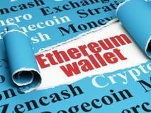 Cryptocurrency-Konzept: rote Text Ethereum-Geldbörse unter dem Stück des heftigen Papiers Stockfotografie
