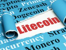 Cryptocurrency-Konzept: roter Text Litecoin unter dem Stück des heftigen Papiers Stockfotografie