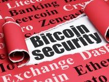 Cryptocurrency-Konzept: schwarze Text Bitcoin-Sicherheit unter dem Stück des heftigen Papiers Lizenzfreie Stockbilder