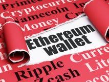 Cryptocurrency-Konzept: schwarze Text Ethereum-Geldbörse unter dem Stück des heftigen Papiers Stockfoto