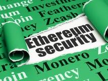 Cryptocurrency-Konzept: schwarze Text Ethereum-Sicherheit unter dem Stück des heftigen Papiers Lizenzfreies Stockbild