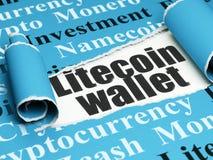 Cryptocurrency-Konzept: schwarze Text Litecoin-Geldbörse unter dem Stück des heftigen Papiers Stockfoto