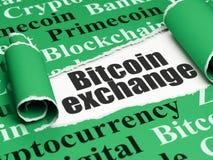 Cryptocurrency-Konzept: schwarzer Text Bitcoin-Austausch unter dem Stück des heftigen Papiers Stockbilder
