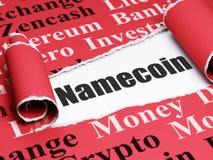 Cryptocurrency-Konzept: schwarzer Text Namecoin unter dem Stück des heftigen Papiers Lizenzfreies Stockfoto