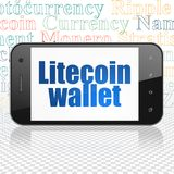 Cryptocurrency-Konzept: Smartphone mit Litecoin-Geldbörse auf Anzeige Stockfotos