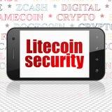 Cryptocurrency-Konzept: Smartphone mit Litecoin-Sicherheit auf Anzeige Lizenzfreies Stockbild