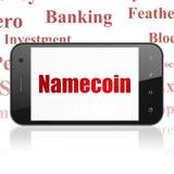 Cryptocurrency-Konzept: Smartphone mit Namecoin auf Anzeige Lizenzfreie Stockfotos