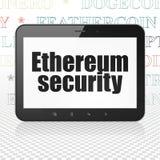 Cryptocurrency-Konzept: Tablet-Computer mit Ethereum-Sicherheit auf Anzeige Lizenzfreies Stockfoto