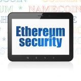 Cryptocurrency-Konzept: Tablet-Computer mit Ethereum-Sicherheit auf Anzeige Lizenzfreie Stockfotos
