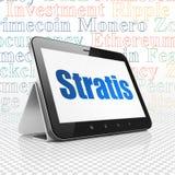 Cryptocurrency-Konzept: Tablet-Computer mit Stratis auf Anzeige Lizenzfreies Stockbild