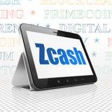 Cryptocurrency-Konzept: Tablet-Computer mit Zcash auf Anzeige Stockfotografie