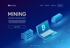 Cryptocurrency kopalnictwo Blockchain uprawia ziemię komputer mainframe lub kopalni system komputerowego Cyfrowej waluty górnika  ilustracji