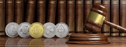 Cryptocurrency law. Gavel and variety of virtual coins on law books background, banner. 3d illustration. Cryptocurrency law concept. Gavel and variety of virtual Stock Photos