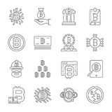 Cryptocurrency Line Icons Set. Vector Collection of Thin Outline Bitcoin Finance Symbols. Editable Stroke. EPS 10 Stock Photo