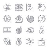 Cryptocurrency Line Icons Set. Vector Collection of Thin Outline Bitcoin Finance Symbols. Editable Stroke. stock illustration