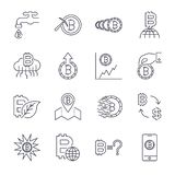 Cryptocurrency Line Icons Set. Vector Collection of Thin Outline Bitcoin Finance Symbols.. Editable Stroke. vector illustration