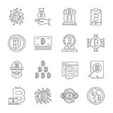 Cryptocurrency Line Icons Set. Vector Collection of Thin Outline Bitcoin Finance Symbols. Editable Stroke royalty free illustration