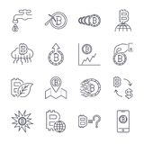 Cryptocurrency Line Icons Set. Vector Collection of Thin Outline Bitcoin Finance Symbols.. Editable Stroke. Royalty Free Stock Photos