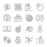 Cryptocurrency Line Icons Set. Vector Collection of Thin Outline Bitcoin Finance Symbols. Editable Stroke. EPS 10 Royalty Free Stock Photography