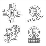 Cryptocurrency-Linie Ikonensatz Bitcoin Stockfotos
