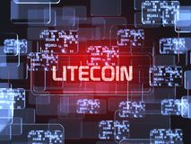 Cryptocurrency Litecoin. Future technology block chain cryptocurrency Litecoin red touchscreen interface. Blockchain financial virtual money wallet screen vector illustration