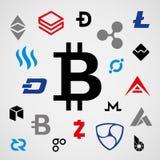 Cryptocurrency Logo Business Money Bitcoin Cash Litecoin Ethereum Monero Ripple Zcash Dash Stratis Vector Stock Images