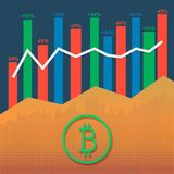 Bitcoin logotype cryptocurrency with market growth graph and volumes columns. Cryptocurrency logo with market growth graph and volume bars. Business data report Stock Images