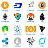 Cryptocurrency Logo Set Illustration Libre de Droits