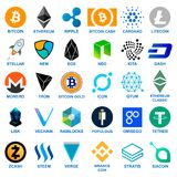 Cryptocurrency Logo Set Photos libres de droits