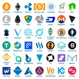 Cryptocurrency Logo Set Images libres de droits