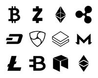 Cryptocurrency Logo Set Illustrazione di Stock