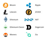 Cryptocurrency Logo Set Fotografia Stock