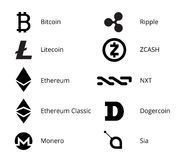Cryptocurrency Logo Set Fotografie Stock Libere da Diritti