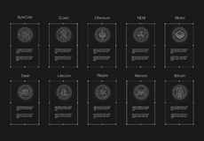 Cryptocurrency logo set - bitcoin,  litecoin, ethereum, ethereum classic, monero, ripple, zcash dash stratis nem. Cryptocurrency logo set - bitcoin, litecoin Royalty Free Stock Photo