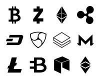 Cryptocurrency Logo Set. Cryptocurrency Logo Set - Bitcoin, Litecoin, Ethereum, Ethereum Classic, Monero, Ripple, Zcash Dash, Stratis, Bytecoin NEO NEM Stock Photos
