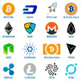 Cryptocurrency logo set. 16 different coins Stock Photos
