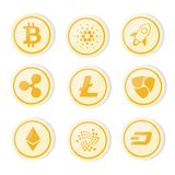 Cryptocurrency logo set gold coin version- bitcoin, litecoin, ethereum, ripple, dash, nem stock image