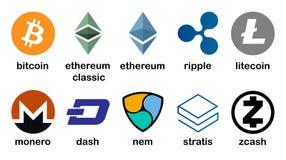 Cryptocurrency logouppsättning - bitcoin, litecoin, ethereum, ethereumklassiker, monero, krusning, zcash, streck, stratis, nem royaltyfri illustrationer
