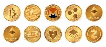 Cryptocurrency logouppsättning - bitcoin, litecoin, ethereum, ethereumklassiker, monero, krusning, zcashstreckstratis nem guld- stock illustrationer