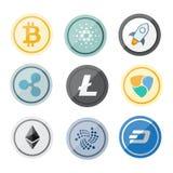 Cryptocurrency logouppsättning - bitcoin, litecoin, ethereum, krusning, streck, nem vektor illustrationer