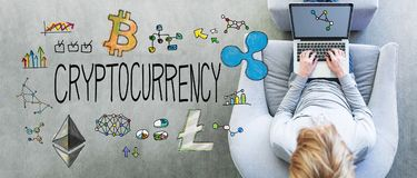 Cryptocurrency with man using a laptop royalty free stock photos