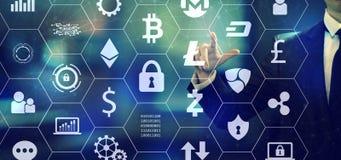 Cryptocurrency met een zakenman vector illustratie